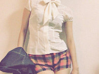 Bow_blouse_x_plaid_shorts_-_kayo_k__thumb