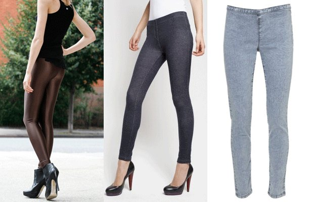Then came jeggings – looks just like jeans but thinner material and same advantages as leggings. It also makes for a nice casual look. They look great with boots, tennis shoes, sandals, flats and yes, high heels.
