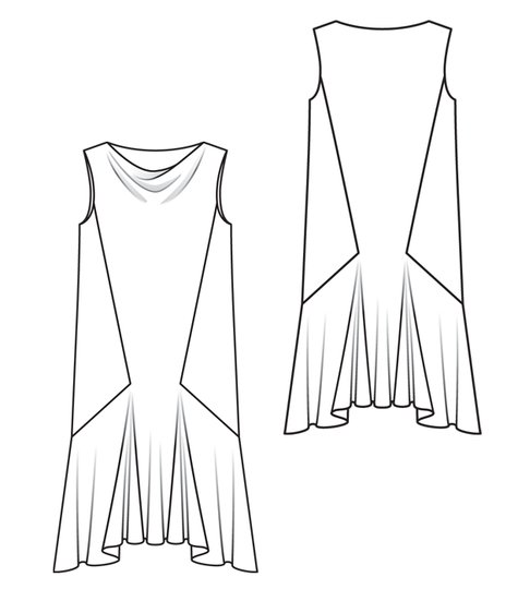 Neckline Drawing : Cowl neck drawing sketch coloring page
