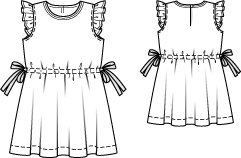 Drawstring Dress with Ruffled Sleeves 08/2014 #147