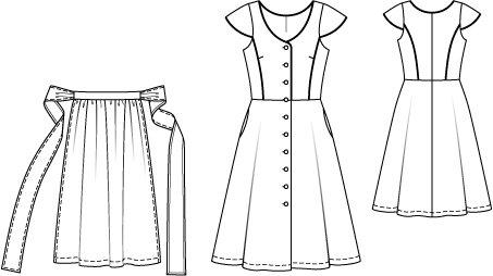 Cap Sleeve Dress with Apron 09/2014 #124