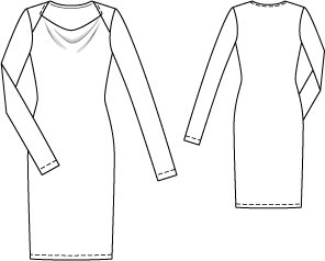 Long Sleeve Cowl Neck Dress 102014 on drawing long skirt