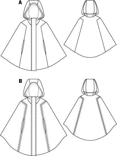 Patterns for adult hooded capes