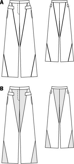 Diagonal Panel Pants 02/2015 #116A