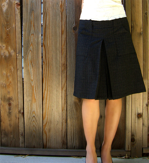 couture wool skirt with inverted box pleat sewing