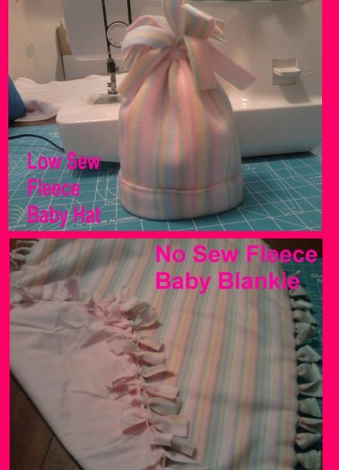 No Sew Fleece Baby Blanket Amp Low Sew Fleece Hat Sewing