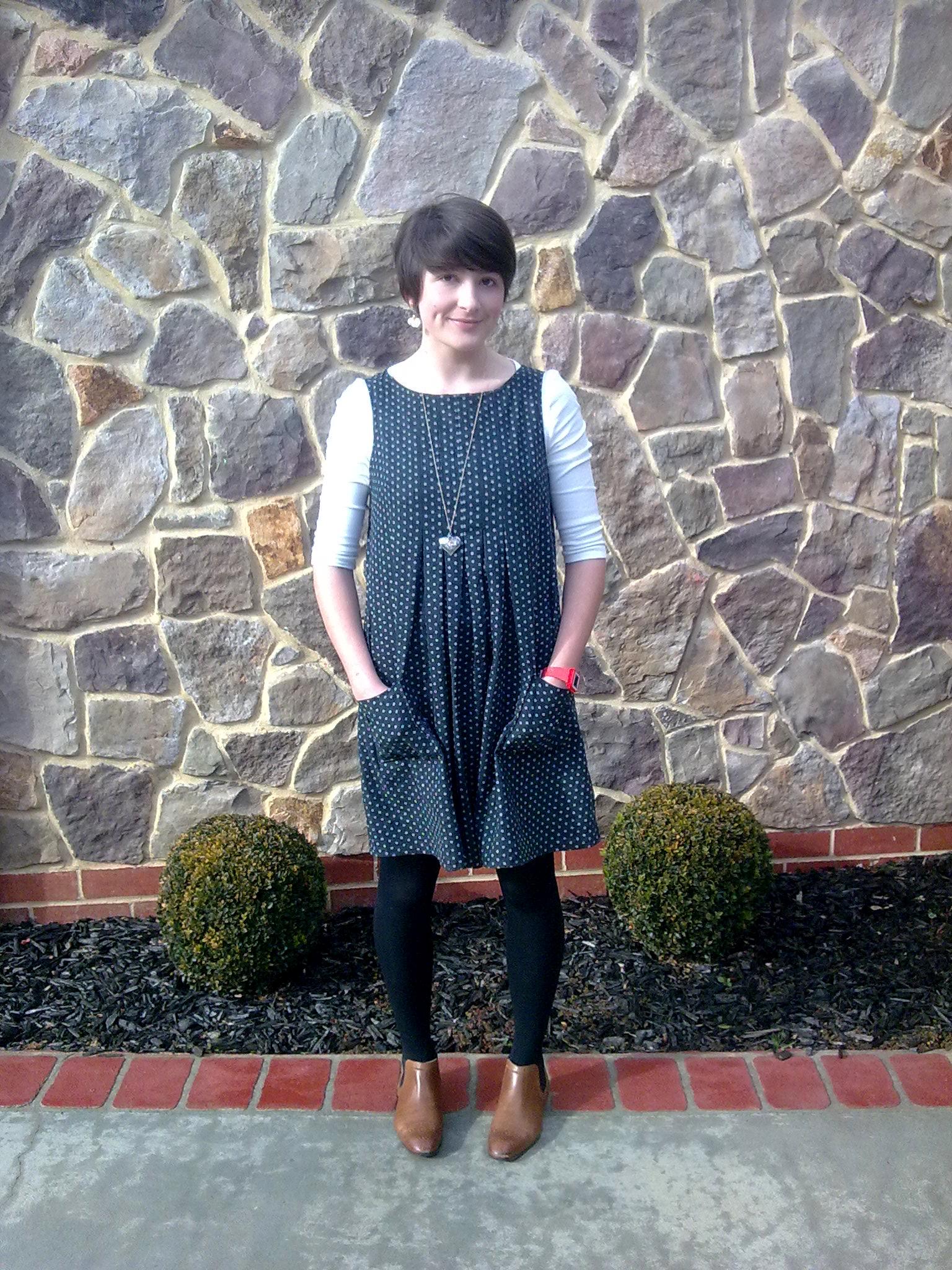 Stylish Dress Book 1 Spotted Pinafore Pattern E