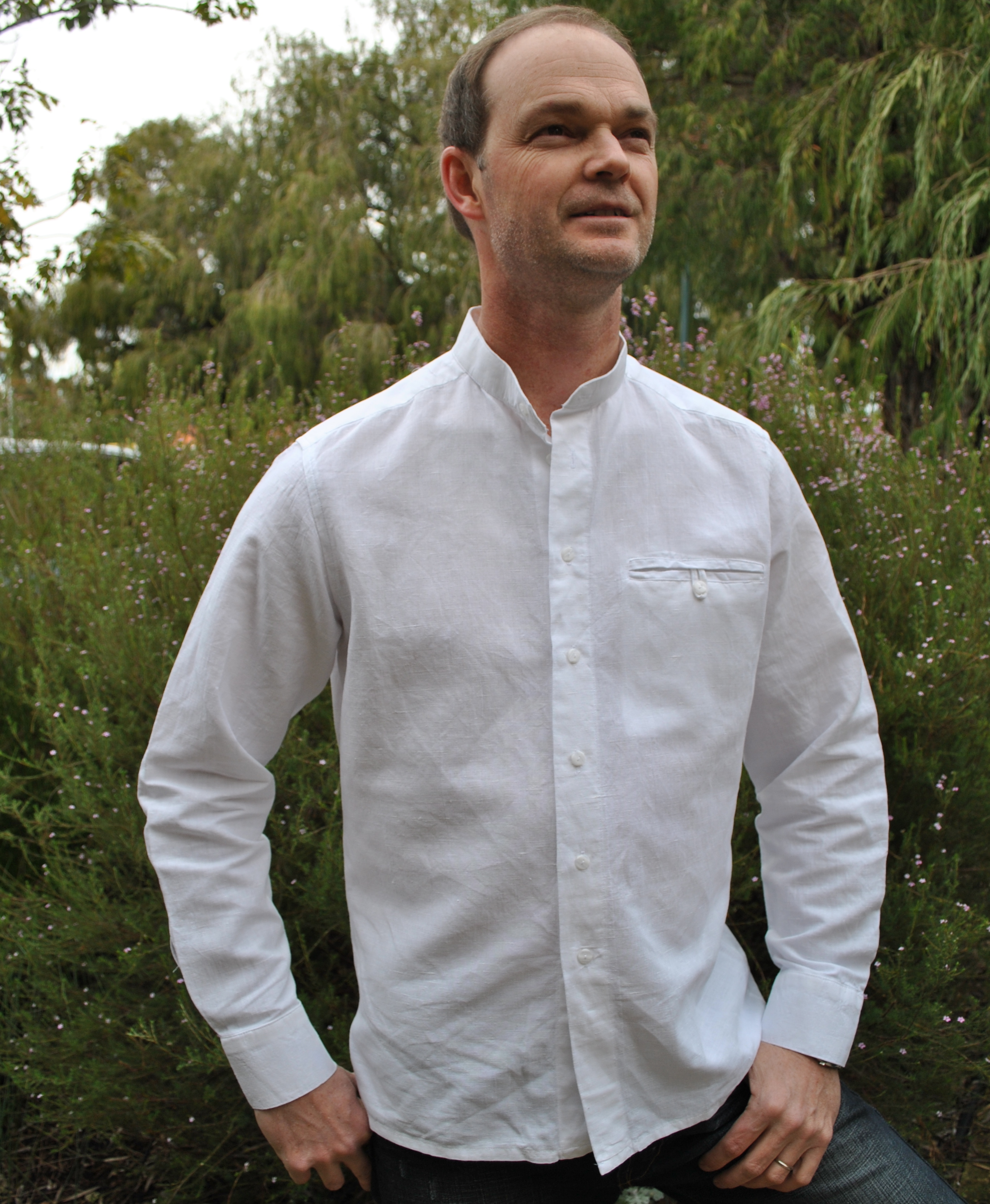 Menswear Collarless Shirt Sewing Projects Burdastyle Com