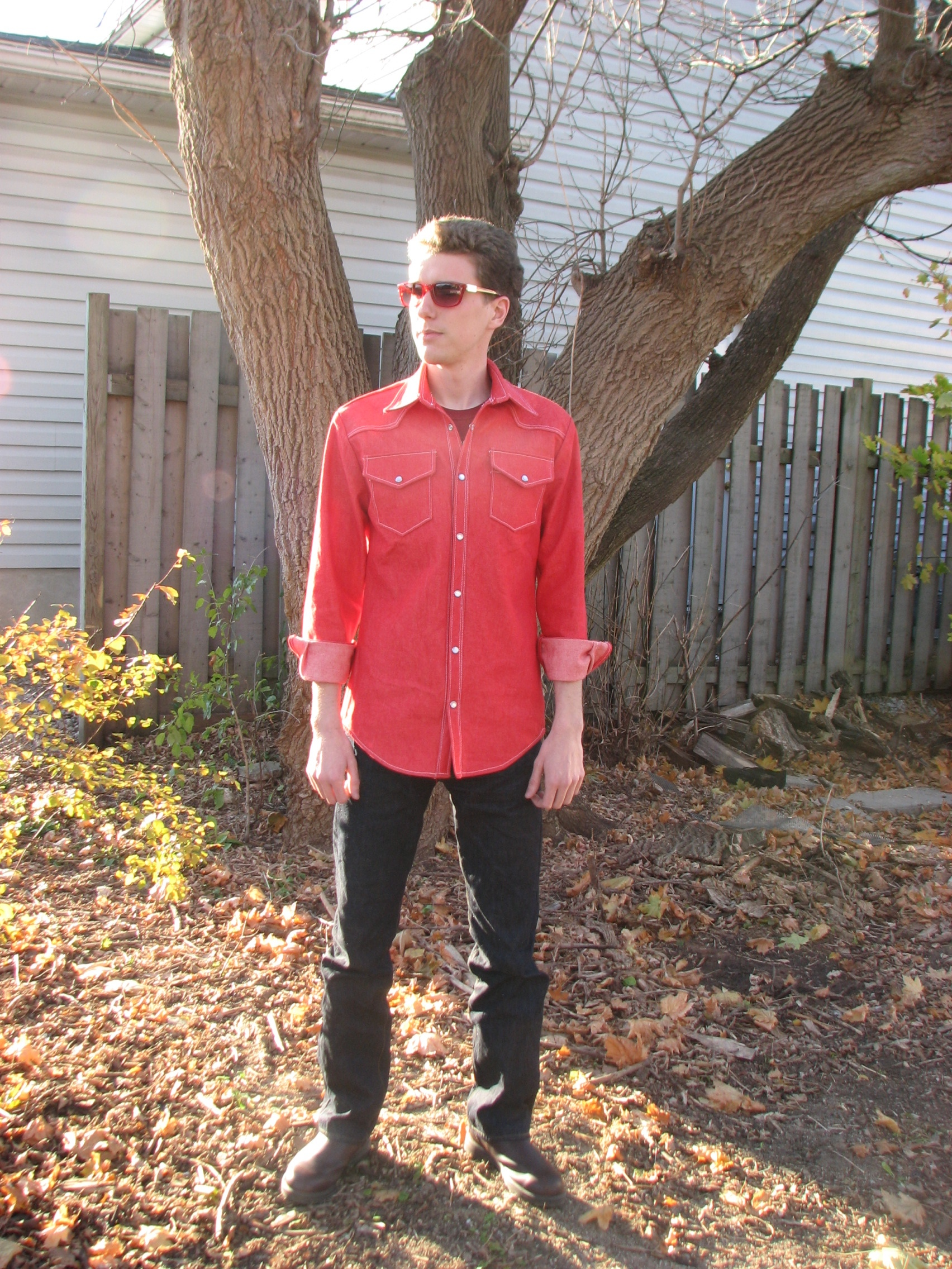 Men's Red Denim Cowboy Shirt – Sewing Projects | BurdaStyle.com
