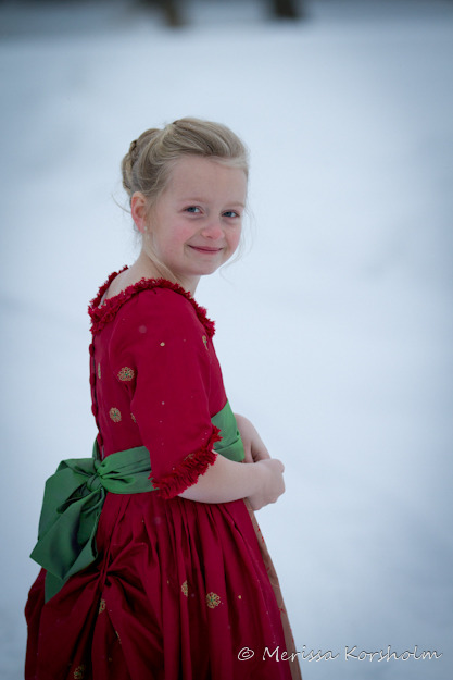 Silk christmas dress s girls portrait sewing