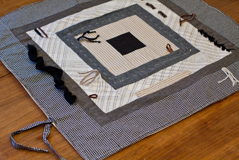 Patchwork baby quilt play mat in neutrals - black, white, & yellow ... : quilted play mat baby - Adamdwight.com