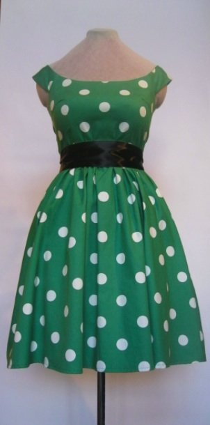 green 50's ish polka dot dress – Sewing Projects | BurdaStyle.com