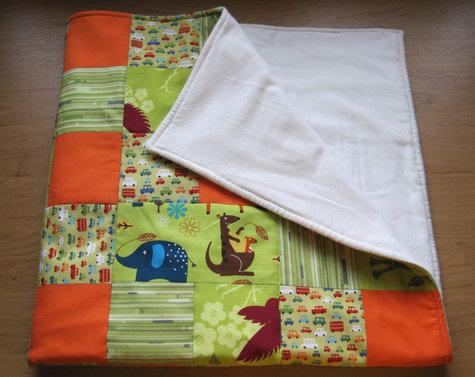 Baby Boy Blanket - Green & Orange, Patchwork Quilt – Sewing ... : patchwork quilt blanket - Adamdwight.com
