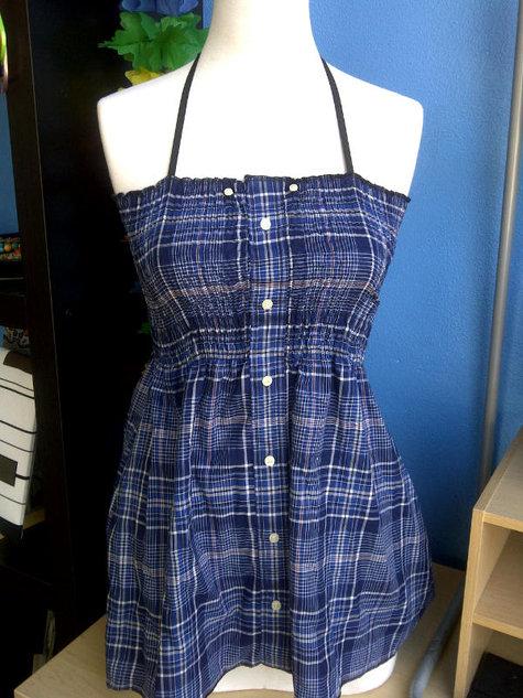 Shirred Halter Dress Upcycled Men S Shirt Sewing