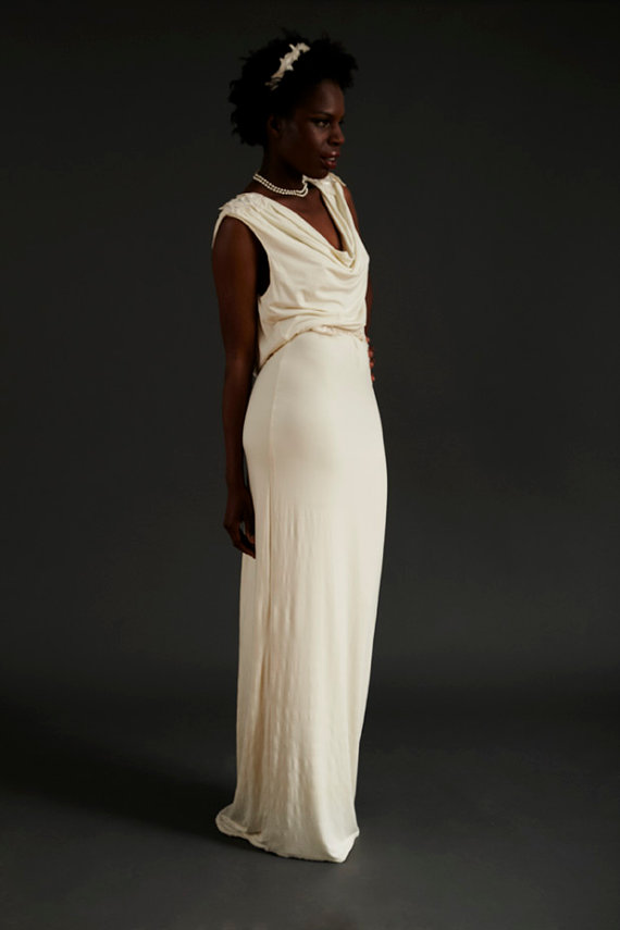 Sustainable draped cowl back evening dress sewing for Cowl neck wedding dress pattern