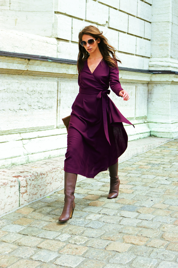 10 2011 Knee Length Purple Wrap Dress Sewing Projects