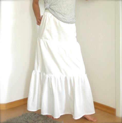 Tiered Maxi Skirt White Cotton – Sewing Projects | BurdaStyle.com
