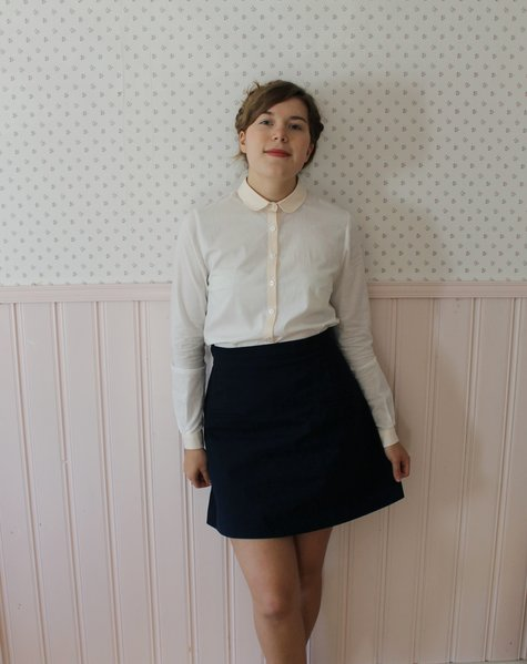 Peach collar blouse and a-line skirt – Sewing Projects ...
