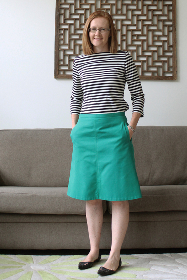Emerald Green A Line Skirt And Striped Boat Neck Top