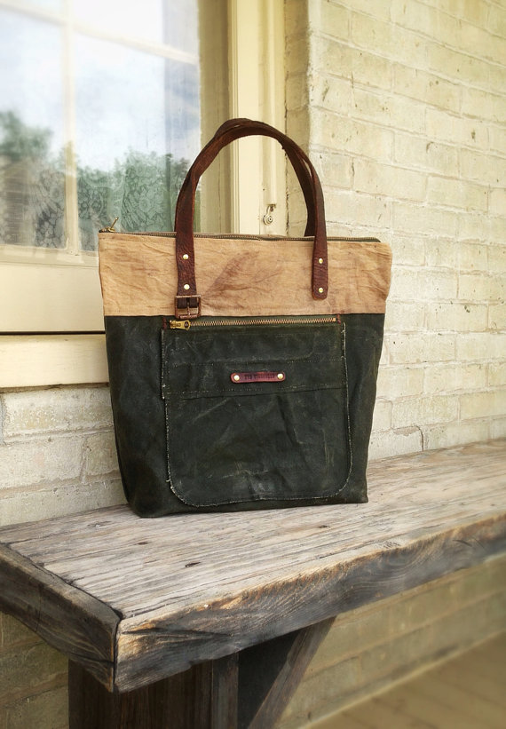 Two Tone Waxed Canvas Tote Bag With Leather Strap Handles