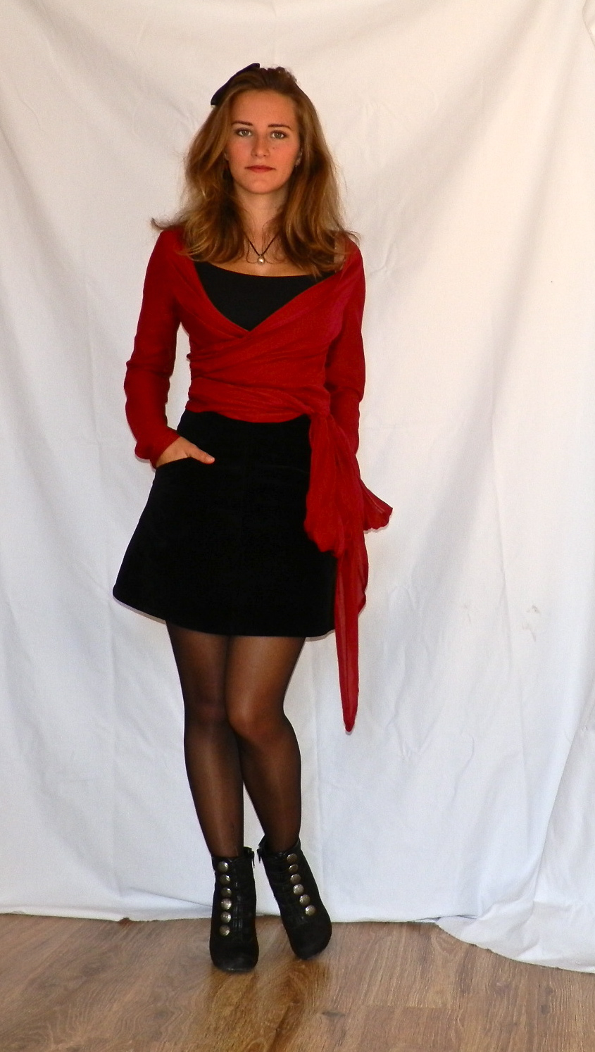 Black Mini Skirt   Red Cardigan   Green Blouse – Sewing Projects ...