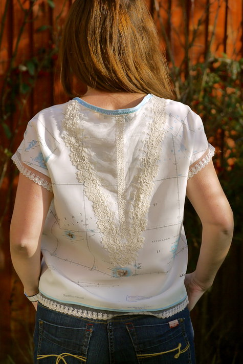 Top from vintage military map with lace and sequin ...