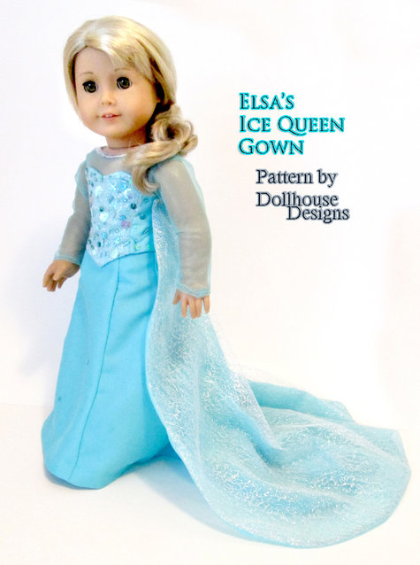Elsa Ice Queen Gown For American Girl Dolls Sewing
