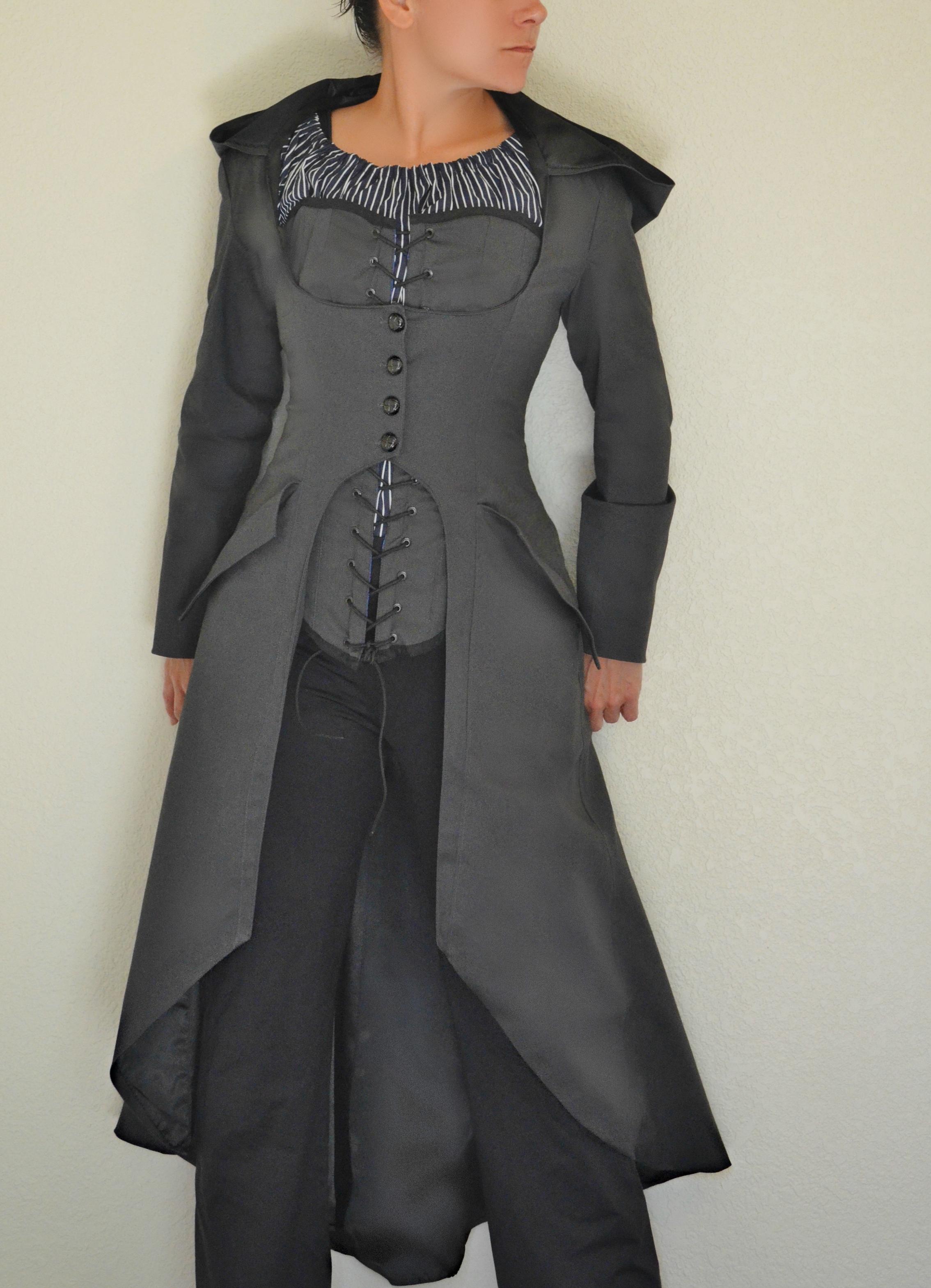 Dark gray hooded steampunk corset coat corset chemise blouse dark gray hooded steampunk corset coat corset chemise blouse sewing projects burdastyle jeuxipadfo Gallery