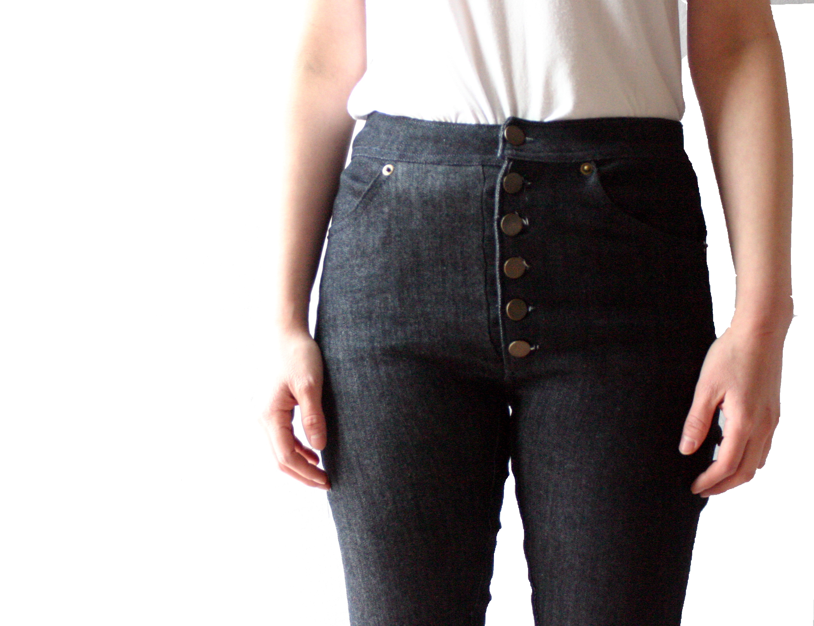 High-waisted jeans with tack button fly u2013 Sewing Projects | BurdaStyle.com