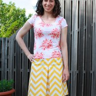 Yellow_chevron_skirt_-_simplicity_1717_-_front_listing