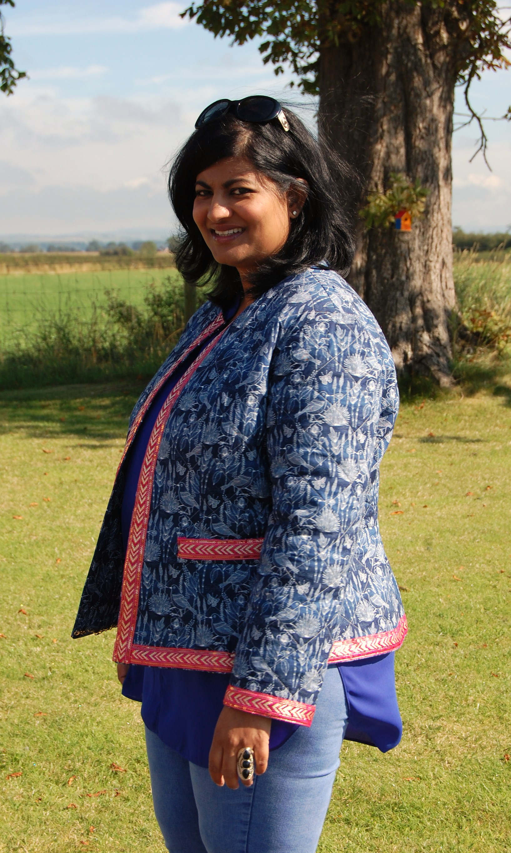 Quilted cotton boho style jacket with ethnic style trim ...