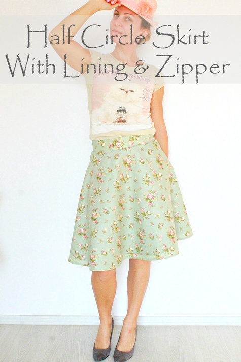half circle skirt with lining and zipper sewing projects