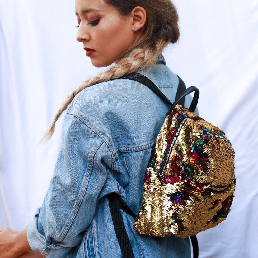 Rainbow And Gold Sequin Backpack Sewing Projects