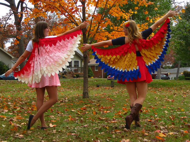 Flamingo Halloween Costume Pattern http://www.burdastyle.com/techniques/nattys-birds-of-a-feather-costume-tutorial